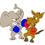 Fighting donkey and elephant