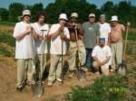 Work crew with volunteer Master Gardener Jim Dixon (green shirt)