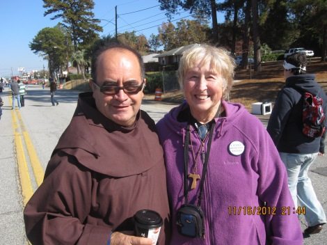 Brother Domingo Solis from El Salvador, a Franciscan Friar and Marilyn Yockey, OFS