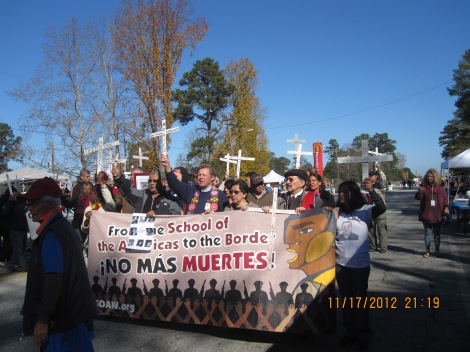 Start of funeral procession at School of the Americas (SOA)
