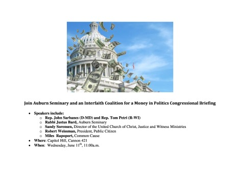 Money in Politics Congressional Briefing Flyer